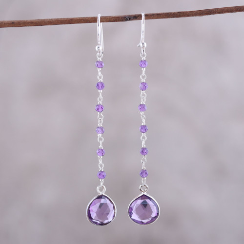 8-Carat Amethyst Dangle Earrings from India 'Morning Drops'