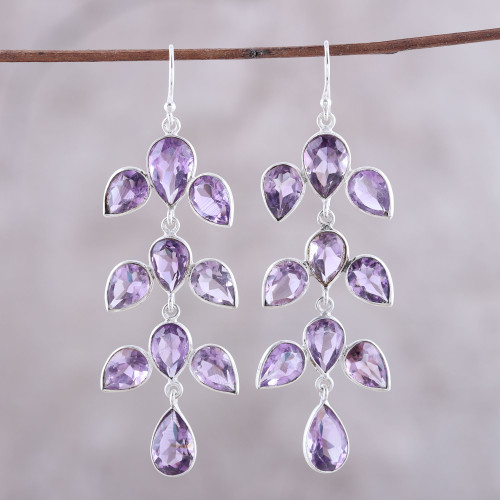 44-Carat Amethyst Dangle Earrings from India 'Leaf Cascade'