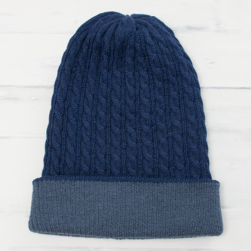Men's Alpaca Blend Knit Hat in Azure from Peru 'The Bells of Huancayo in Azure'