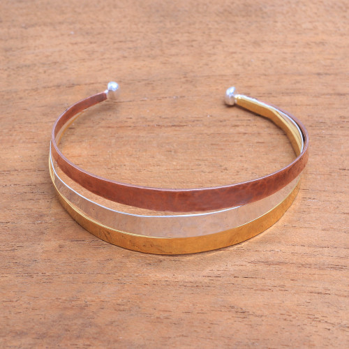 Gold Accent Sterling Silver Cuff Bracelet from Bali 'Metallic Rainbow'