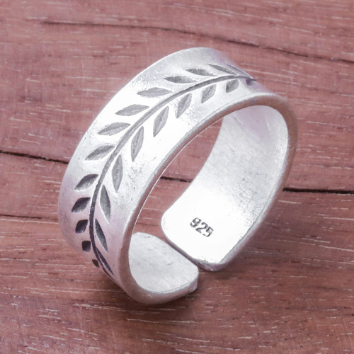 Leaf Pattern Sterling Silver Wrap Ring from Thailand 'Natural Branch'