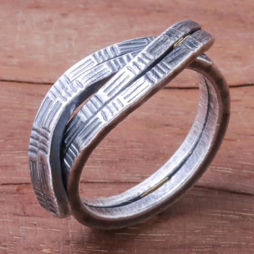 Oxidized Textured Karen Silver Wrap Ring from Thailand 'Karen Delight'