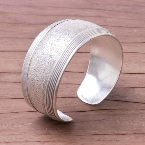 Hill Tribe Crafted 925 Sterling Silver Cuff Bracelet 'Exotic Patterns'