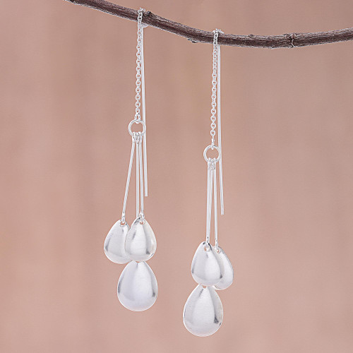 Drop-Pattern Sterling Silver Dangle Earrings from Thailand 'Fashionable Drops'
