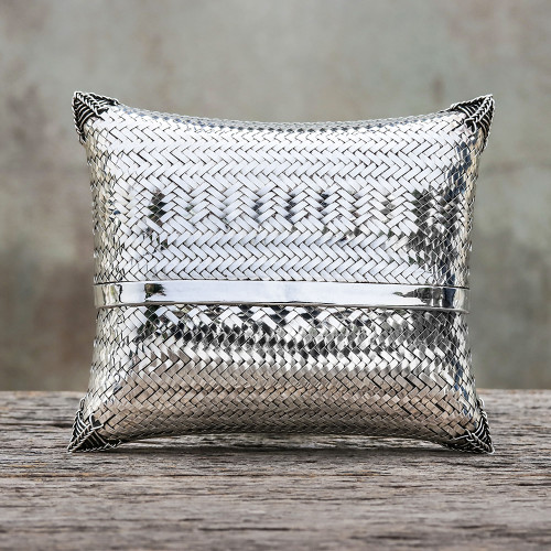 Woven Silver Plated Brass Clutch from Thailand 'Thai Weavings'