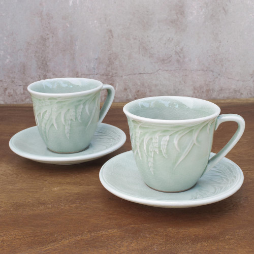 Handcrafted Celadon Green Ceramic Cups and Saucers Pair 'Waving Grains'