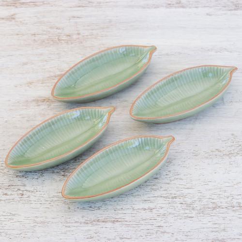 Leaf-Shaped Celadon Ceramic Appetizer Bowls Set of 4 'Festive Banana'