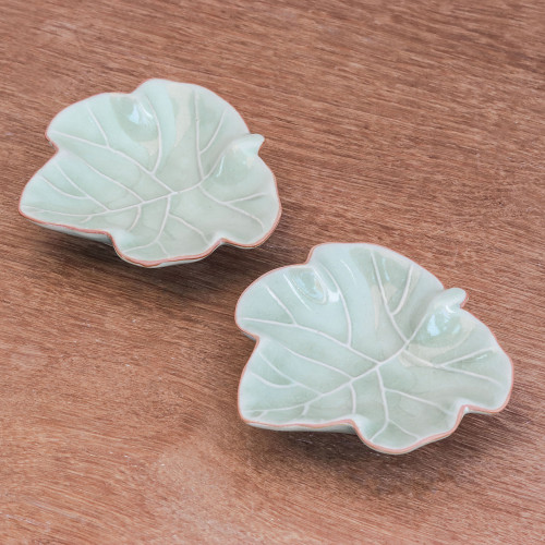 Leafy Celadon Ceramic Appetizer Bowls from Thailand Pair 'Ivy Gourd'