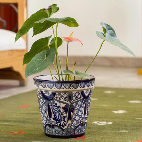 Talavera Style Blue Floral Motif Ceramic Flower Pot 9 inch 'Cool Breeze Garden'