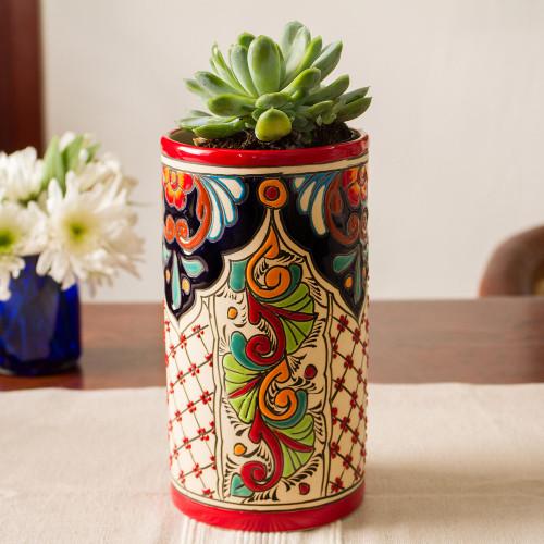 Talavera Style Colorful Floral Trellis Motif Ceramic Vase 'Spicy Garden'
