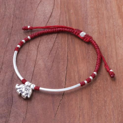Karen Silver Elephant Beaded Bracelet from Thailand 'Elephant Harmony'