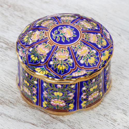 Lotus Motif Gilded Porcelain Decorative Box from Thailand 'Royal Benjarong'