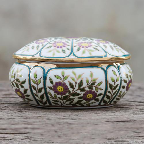 Violet Motif Gilded Porcelain Decorative Box from Thailand 'Benjarong Violets'