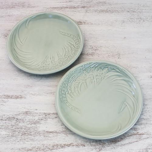 Celadon Ceramic Plates from Thailand Pair 'Thai Rice'