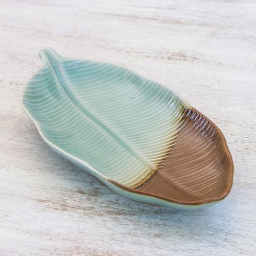 Leaf-Shaped Celadon Ceramic Platter from Thailand 'Nature Present'