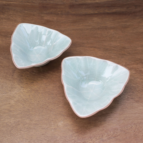 Triangular Celadon Green Ceramic Condiment Servers Pair 'Luxe Leaves in Green'