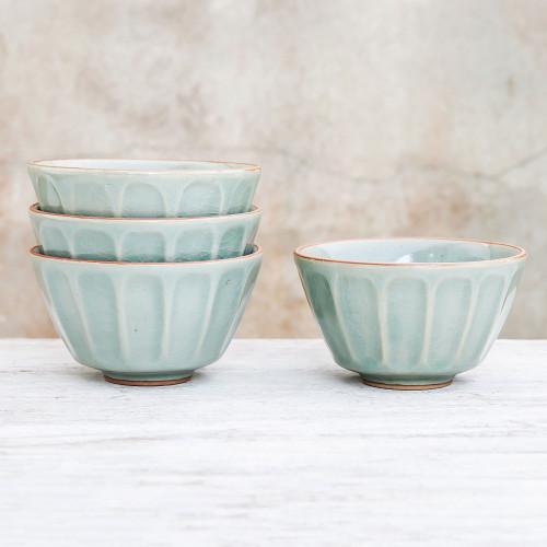 Celadon Ceramic Bowls from Thailand Set of 4 'Simple Thai'