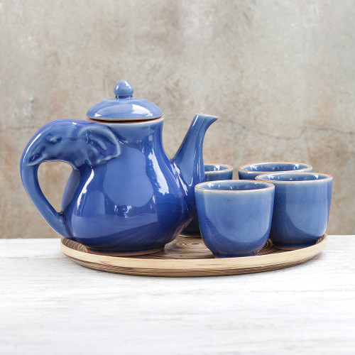 Elephant-Themed Blue Ceramic Tea Set for 4 6 Pieces 'Elephant Gathering'