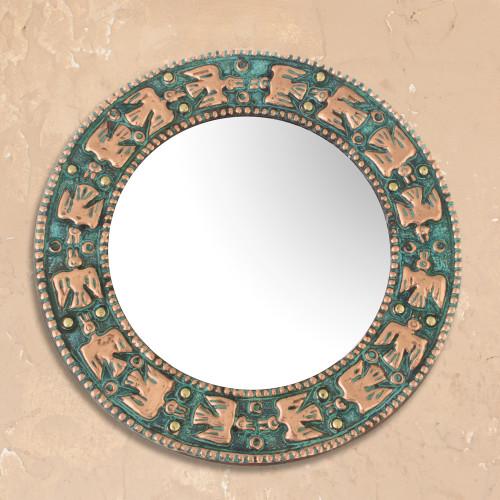Bird Motif Copper Wall Mirror Crafted in Peru 'Pre-Hispanic Birds'