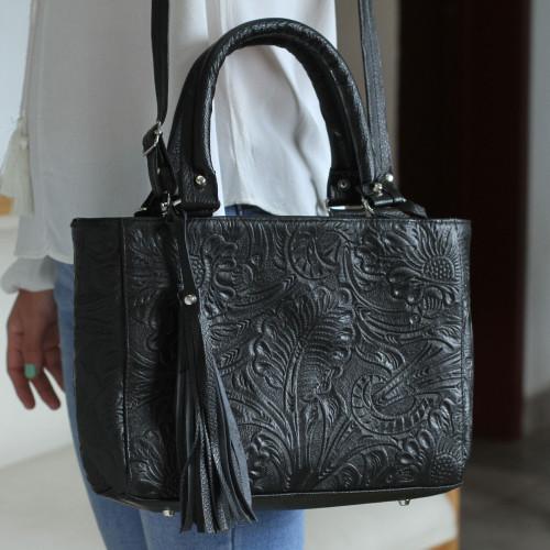 Floral Embossed Leather Shoulder Bag in Black from Mexico 'Flower Carrier in Black'
