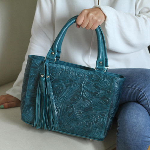Floral Leather Shoulder Bag in Teal from Mexico 'Flower Carrier in Teal'