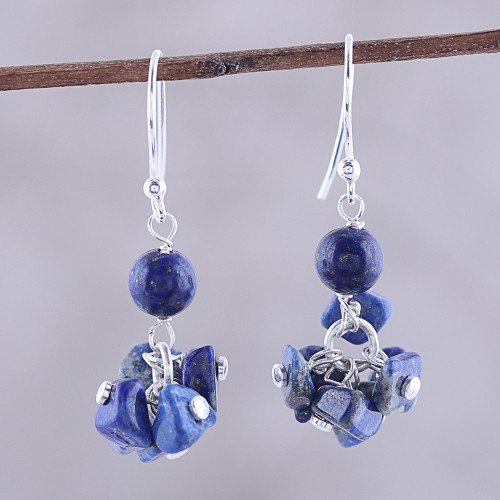 925 Sterling Silver and Lapis Lazuli Dangle Earrings 'Dances in Blue'