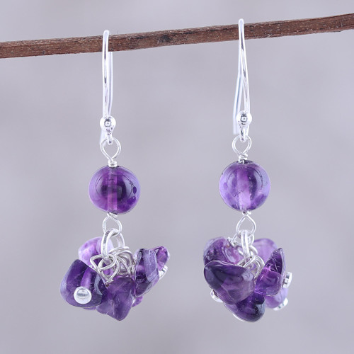 Handcrafted 925 Sterling Silver and Amethyst Dangle Earrings 'Dances in Purple'