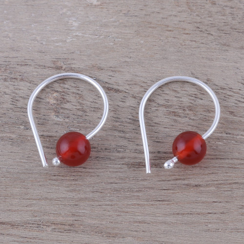 925 Sterling Silver and Carnelian Earrings from India 'Warm Rays'