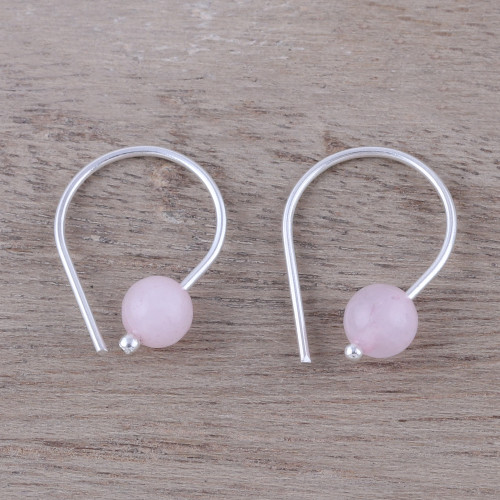 Handcrafted Sterling Silver and Rose Quartz Earrings 'Glowing Sunrise'
