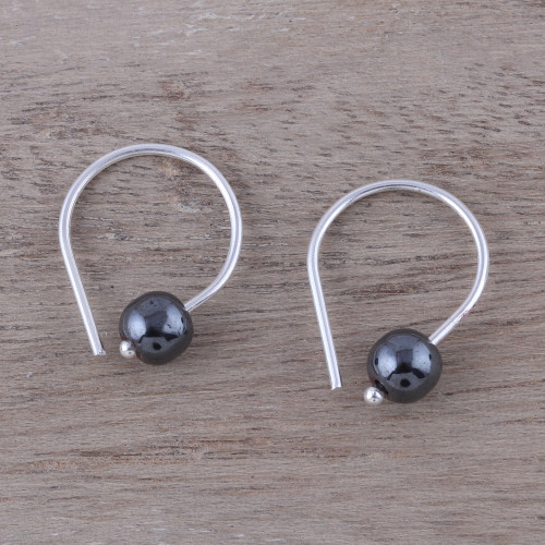Handcrafted Sterling Silver and Hematite Earrings 'Stunning Skies'