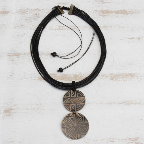Wood Pendant Necklace with Intricate Line Motifs 'Intricate Lines'