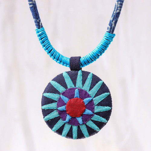 Handcrafted Thai Hmong Hill Tribe Cotton Pendant Necklace 'Hmong Sun Medallion'