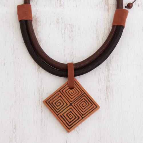 Suede Accent Square Ceramic Pendant Necklace from Brazil 'Square Labyrinth'
