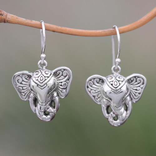 Sterling Silver Elephant Dangle Earrings from Bali 'Elephant King'