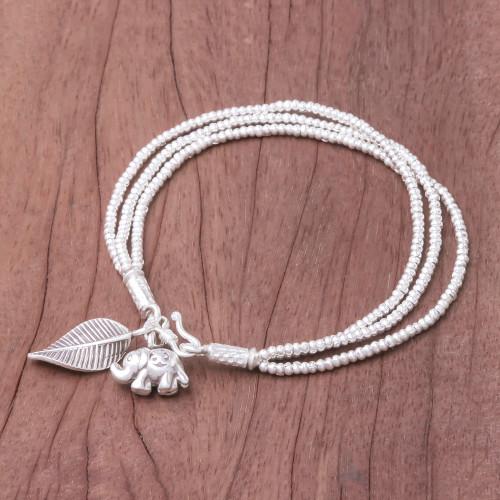 Elephant-Themed Silver Beaded Charm Bracelet from Thailand 'Elephant Leaf'