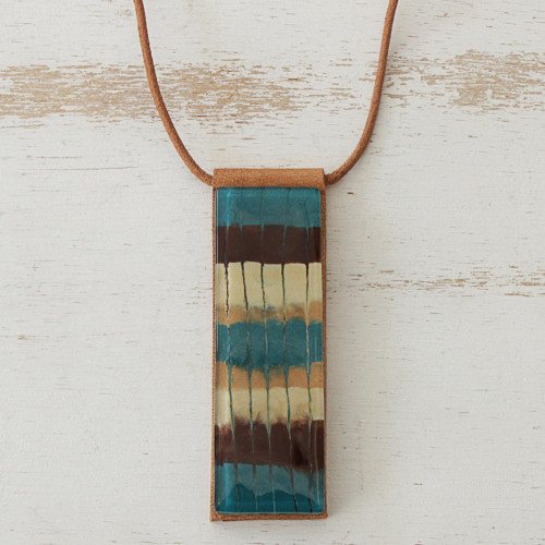 Striped Glass and Leather Pendant Necklace from Brazil 'Horizon Threads'