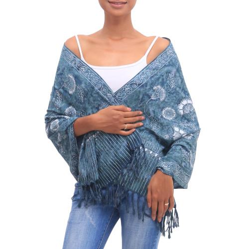 Floral Batik Rayon Shawl in Blue from Bali 'Blue Frangipani Blossom'