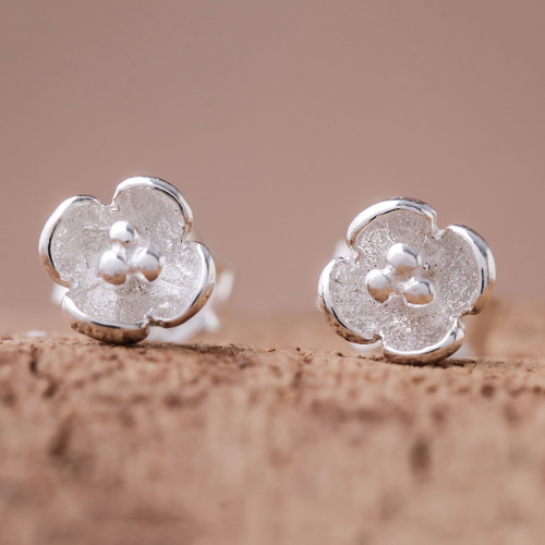 Floral Sterling Silver Stud Earrings Crafted in Thailand 'Pollinators'