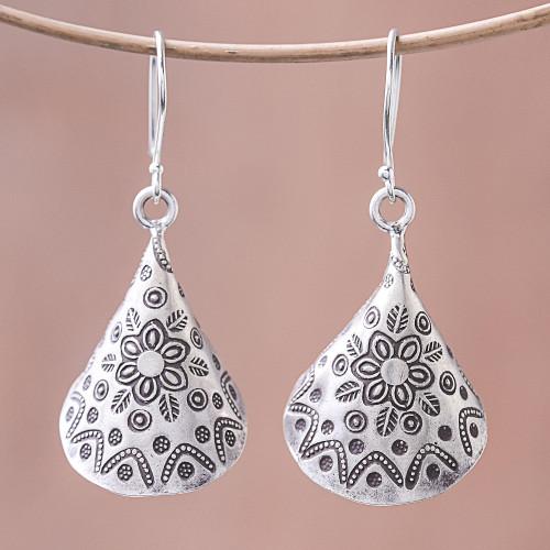 Floral Karen Silver Dangle Earrings from Thailand 'Karen Cones'
