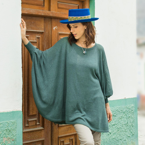 Teal Long-Sleeve Cotton Blend Knit Sweater Poncho from Peru 'Valley Breeze'