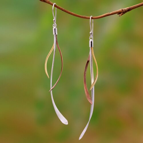 Gold and Rose Gold Accent Sterling Silver Earrings from Bali 'Jimbaran Tendrils'