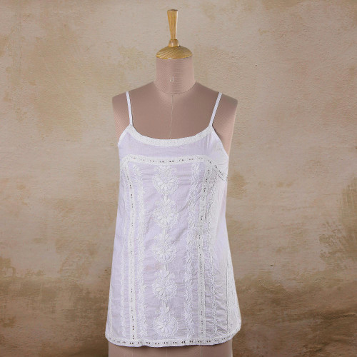 Floral Embroidered White Cotton Tank Top from India 'Beautiful Summer'