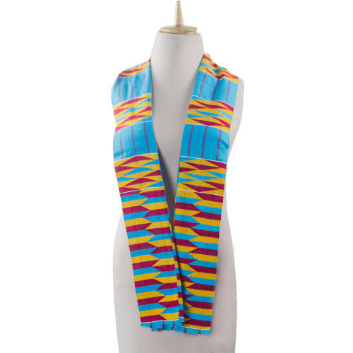 Ghanaian 2-Strip Kente Cloth Scarf  in Turquoise and Yellow 'Artisan Hands'