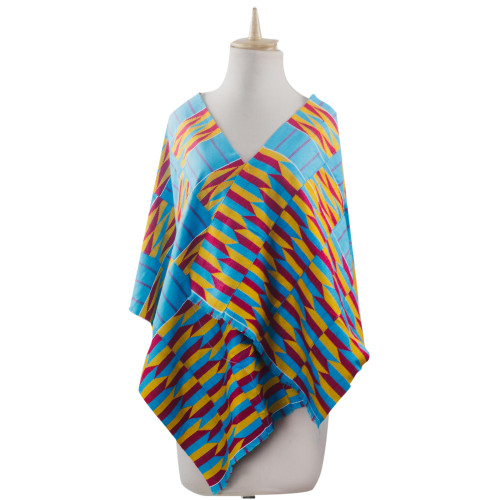 Ghanaian 4-Strip Kente Cloth Shawl in Turquoise and Yellow 'Artisan Hands'