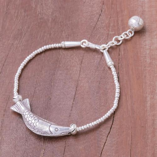 Fish-Themed Karen Silver Beaded Pendant Bracelet 'Karen Fishing'
