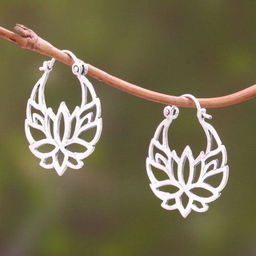 Sterling Silver Lotus Flower Hoop Earrings 1 inch 'Elegant Padma'