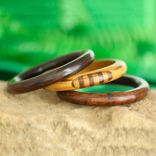 Handmade Mango Wood Bangle Bracelets from India Set of 3 'Chic Combination'