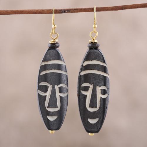 Mask-Themed Bone Dangle Earrings from India 'Delightful Masks'