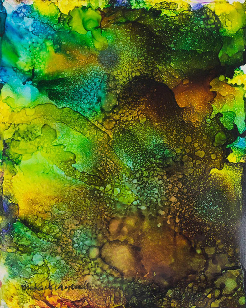 Brown and Green Abstract Painting from Nigeria 'Orisa Oko I'