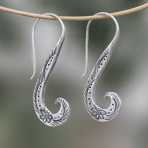 Floral Karen Silver Drop Earrings from Thailand 'Windy Spring'